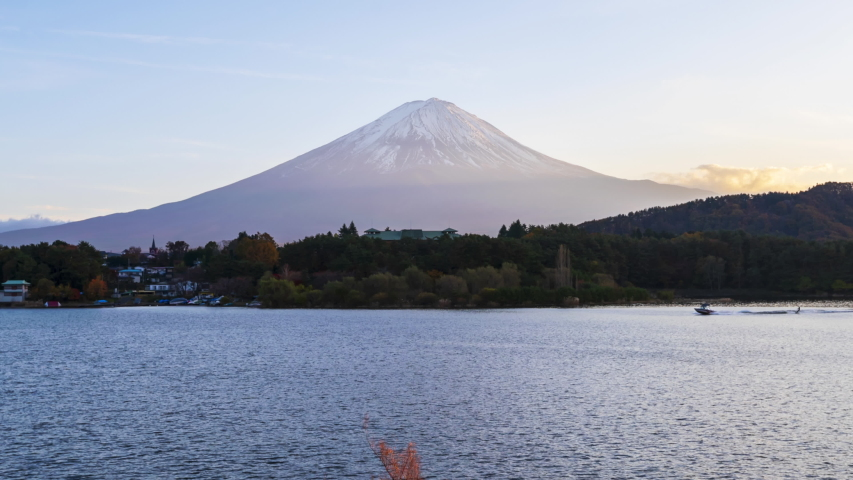 4k Time lapse Sunset of Fuji Mountain at Kawaguchiko Lake,Japan | Shutterstock HD Video #1044540967