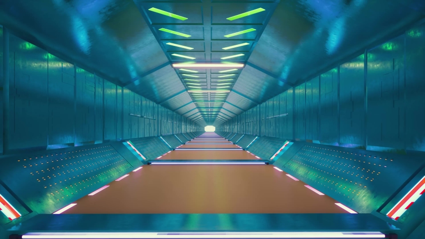 Futuristic tunnel on light background. Graphic abstract background. Empty space. Black background. Futuristic technology design. Blue glow. Neon room. Show room. 4k Royalty-Free Stock Footage #1044579385