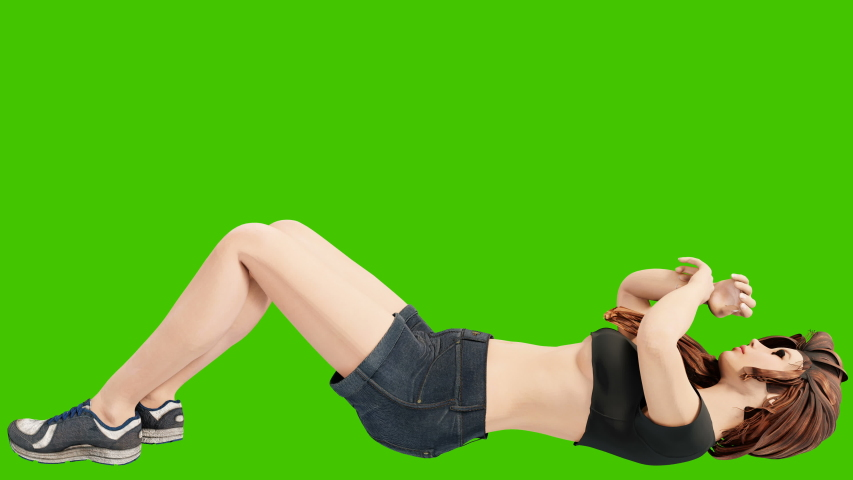 A young beautiful woman is engaged in sports exercises. Looping 3D animation of wellness concept in front of green screen.