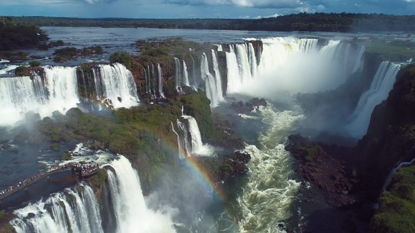 Aerial view of Cataratas do Iguaçu, a tourism point of Foz do Iguaçu, Brazil and of Misiones, Argentina. Great landscape.  Elected one of the seven wonders of the world, | Shutterstock HD Video #1044615058