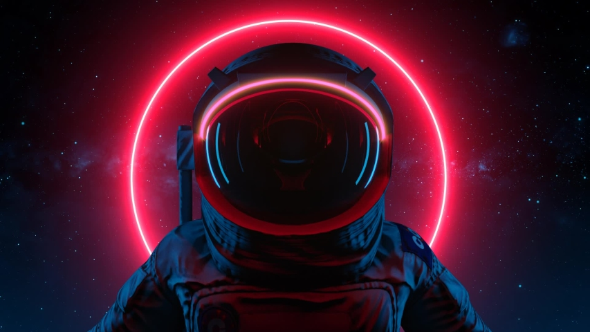 Astronaut In Search Of New Planets In Space. Neon Glowing Lights. Space Background. Seamless Loop | Shutterstock HD Video #1044641740