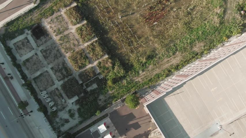 Aerial flying over an urban farm garden. Detroit, Michigan, USA