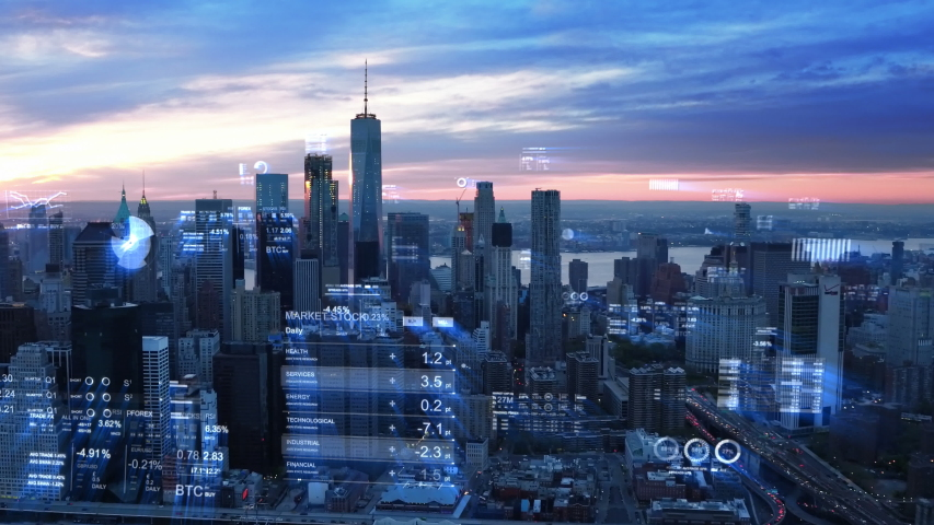 Aerial view of New York with financial charts and data. Futuristic city skyline. Big data, Artificial intelligence, Internet of things. Stock exchange figures. | Shutterstock HD Video #1044658462