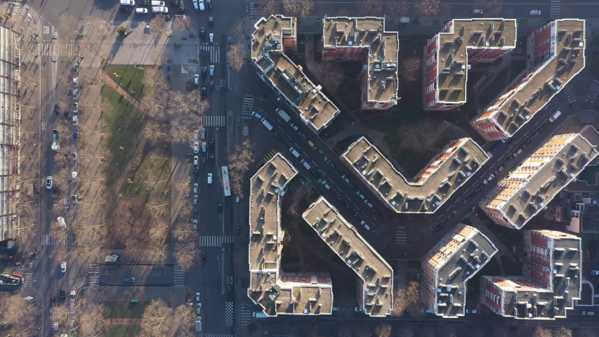 Residential buildings Paris ring road abstract geometrical shape aerial France  | Shutterstock HD Video #1044661522