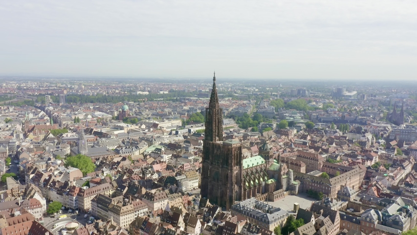 Strasbourg, France. The historical part of the city, Strasbourg Cathedral, Aerial View, Point of interest | Shutterstock HD Video #1044702715