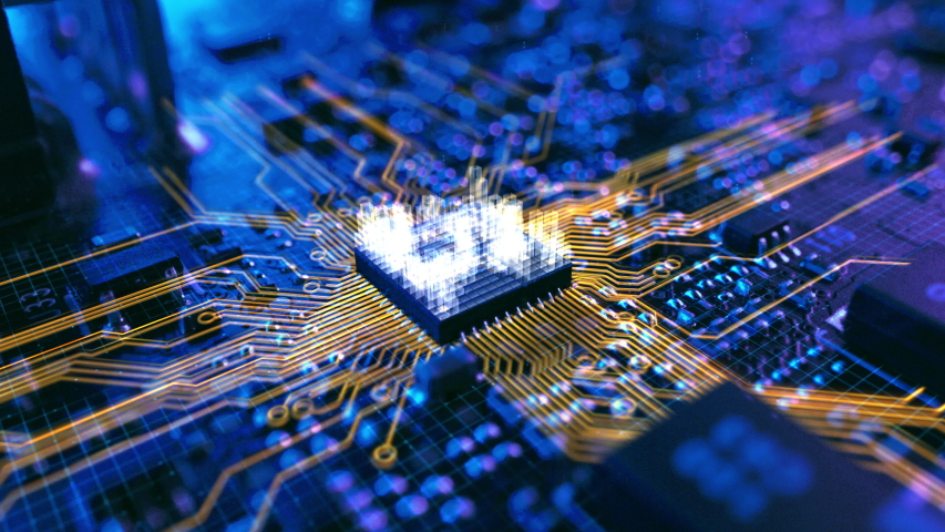 Dark Theme Visualization of Circuit Board CPU Processor Starting Digitalization Process and Information Computing, Processing Bits of Data. Computer Graphics, Special Visual Effects, Animation Royalty-Free Stock Footage #1044715303