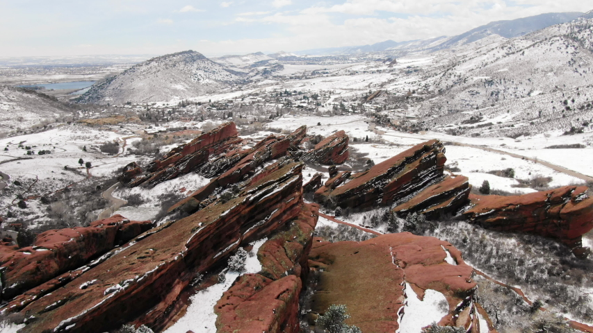 Red Rocks in Winter Colorado Snow Covered | Shutterstock HD Video #1044751738