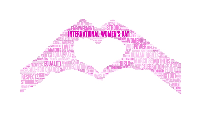 International Women's Day word cloud on a white background. Royalty-Free Stock Footage #1044768691
