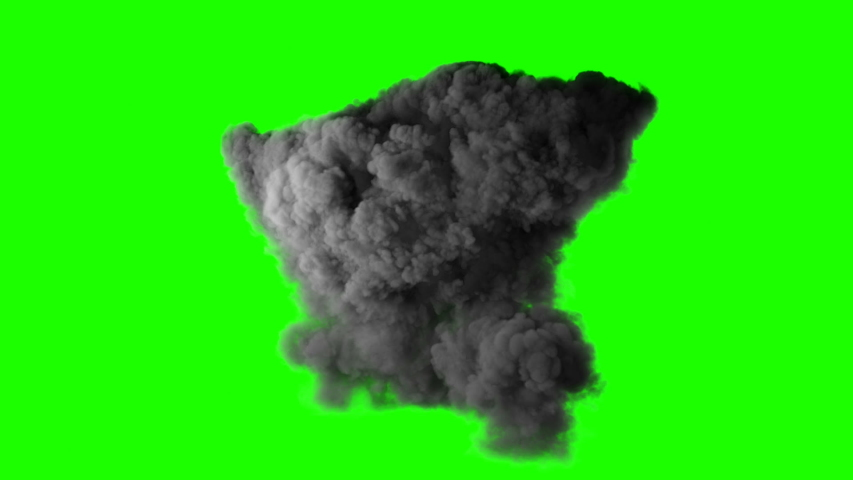 Realistic fireball explosion with huge smoke blast 3d animation isolated on green screen vfx action element powerful massive gasoline detonation with flame and smoke puff alpha channel included   Shutterstock HD Video #1044805417
