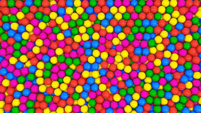 Pile of gumballs fill screen with colorful rolling and falling balls multicolored spheres in pool for children fun abstract transition bright 3d animation for composite overlay with alpha channel   Shutterstock HD Video #1044805462