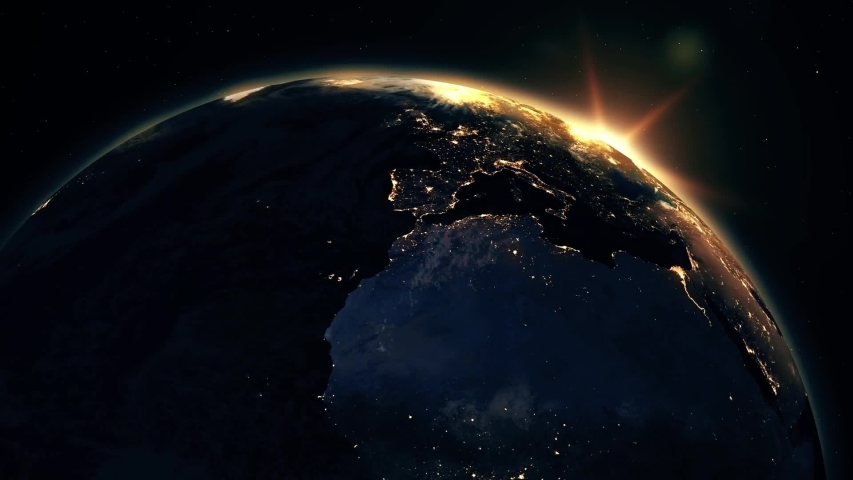 Highly detailed realistic epic sunrise over planet earth europe night city skyline view from space globe lits up on morning from the sun 3d rendering animation using satellite imagery nasa in | Shutterstock HD Video #1044806587