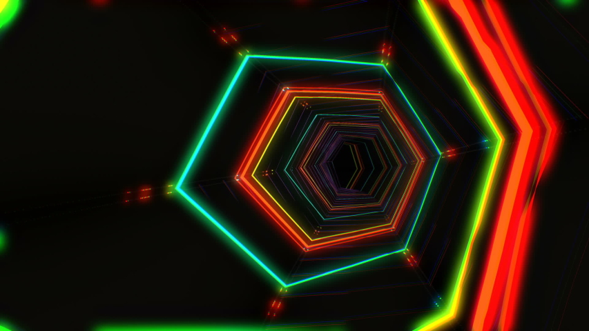 Futuristic hud red hex tunnel seamless vj loop 4k neon motion graphics for led tv music show concerts bright retro cosmic night club 3d animation with data flow concept for speed and connection   Shutterstock HD Video #1044806680