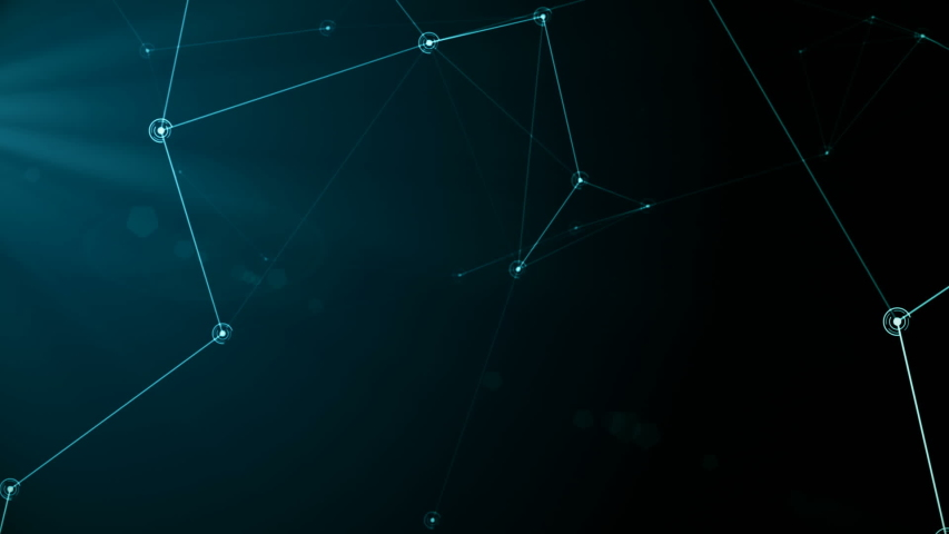 Futuristic abstract cyan network and data connection 3d animation looping particle nodes move and connect in seamless loop technology communication and social media concept alpha channel matte   Shutterstock HD Video #1044806710