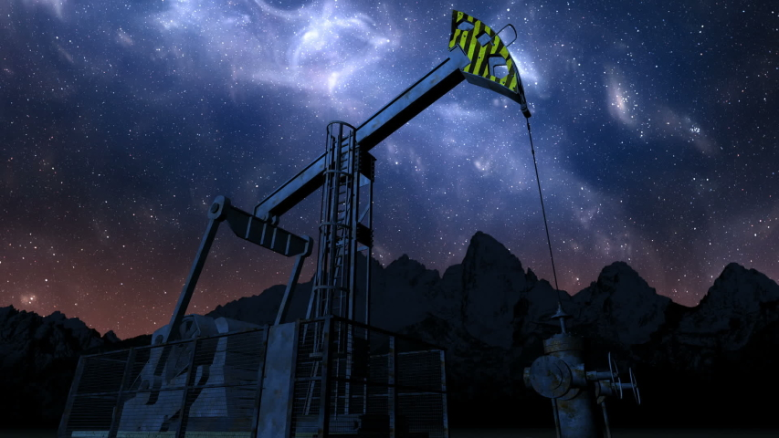 Loop oil pump jack under night sky   Shutterstock HD Video #1044810400