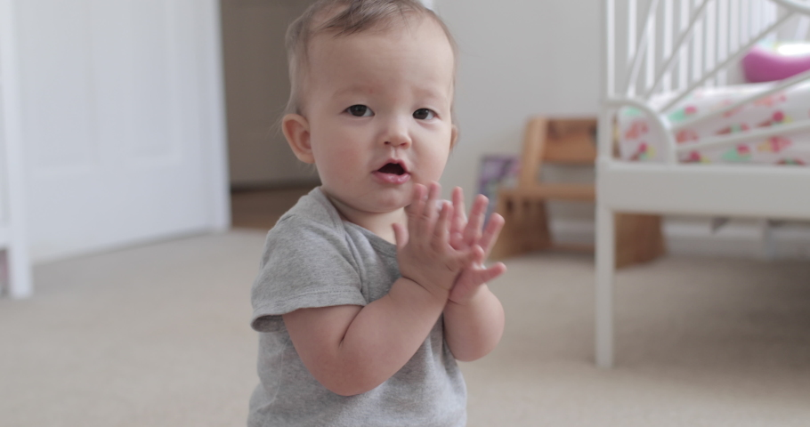 10 Month Old Baby Clapping and Smiling Happily at Camera | Shutterstock HD Video #1044817393