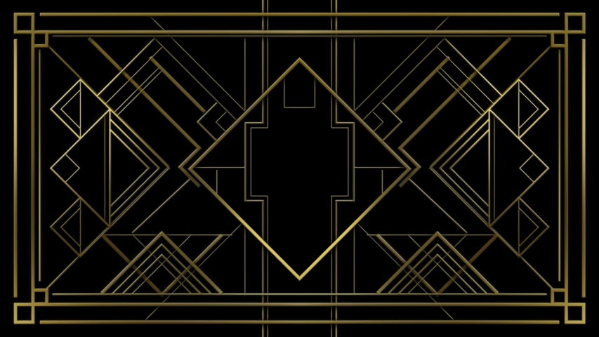 Gatsby Art deco 20's style animated pattern. Gold modern early 20th century ornament builds up and appears on black background. Geometric elegant abstract with glamorous shiny lines with flare