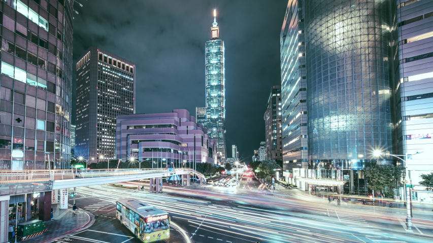 8k timelapse of busy intersection in Taipei city at night, Taiwan | Shutterstock HD Video #1044828190