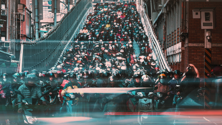 8K Timelapse of Motorcycle Waterfall, Crowed of people are riding scooters on Taipei Bridge in Taiwan