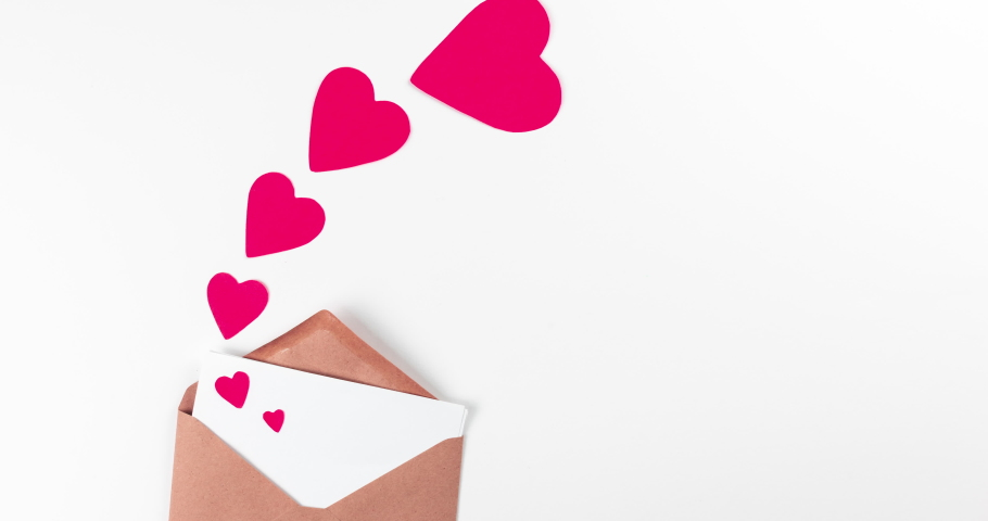 Stop motion animation with craft paper envelope and red flying hearts on white background, love, valentines day and wedding greeting concept   Shutterstock HD Video #1044832321