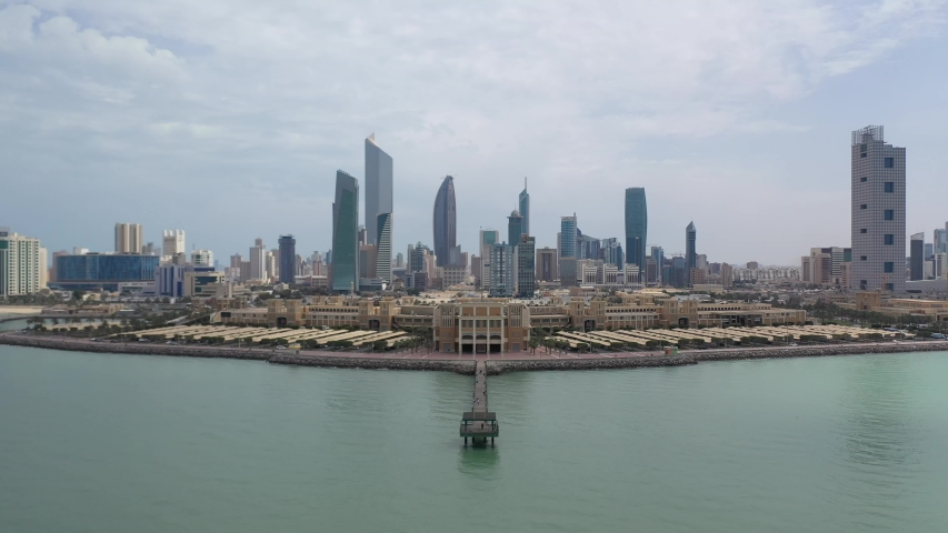 Aerial Footage of Kuwait Souq Sharq and Yacht Club and Fish Market  | Shutterstock HD Video #1044832729