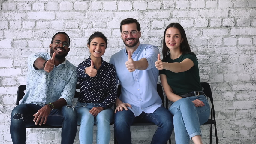 Happy proud multiracial professional business people group show thumbs up look at camera sit on chairs in row in office, human resource recommend vote for best personnel recruitment company concept Royalty-Free Stock Footage #1044846385