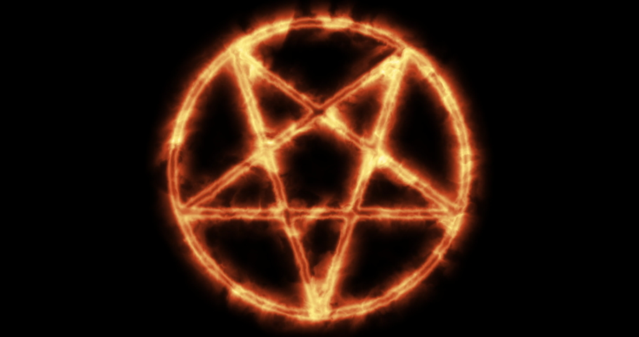 Mystical bright neon fire effect pentacle or inverted pentagram in circle on black background. Five pointed star.Spiritual and esoteric concept but demonic use as well.Occultism symbol.4k animation