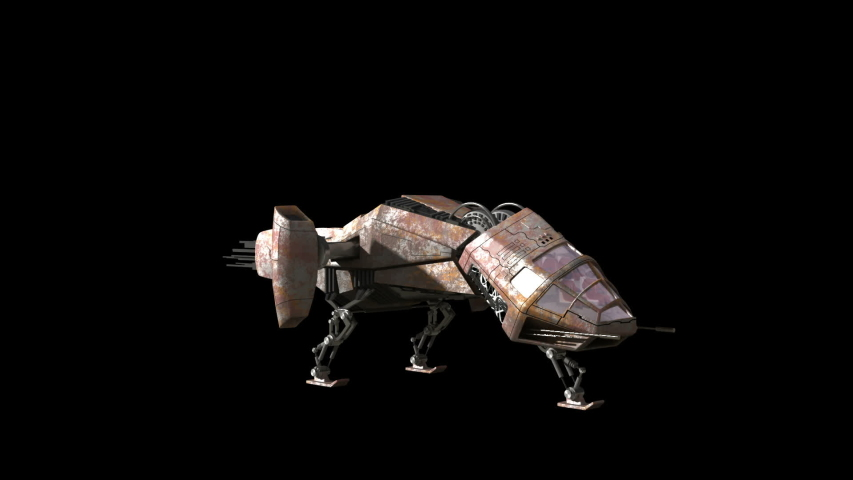 Fantasy 3d futuristic battleship craft taking off and flying on black for film or web comps | Shutterstock HD Video #1044853633