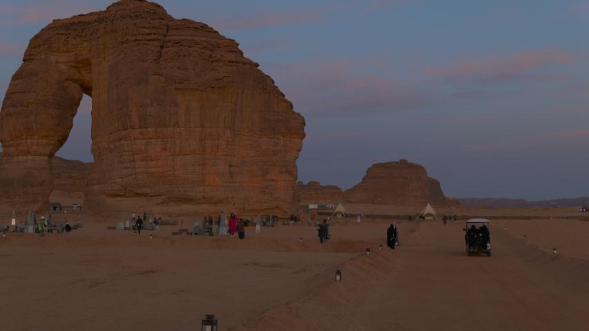 Al Ula, January 3, 2020. Elephant rock at dusk during the Winter at Tantora Festival in Al Ula, Saudi Arabia