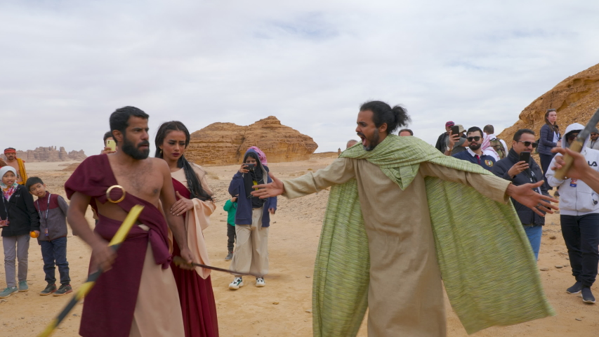 Mada'in Saleh, January 3, 2020. Winter at Tantora festival opens with a theatrical performance of the Nabatean Civilisation, Al Ula, Saudi Arabia