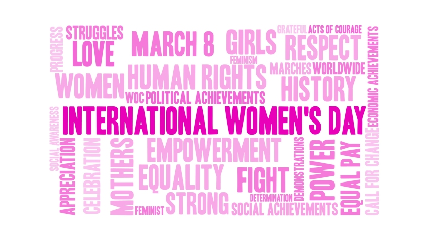 International Women's Day word cloud on a white background. Royalty-Free Stock Footage #1044863644