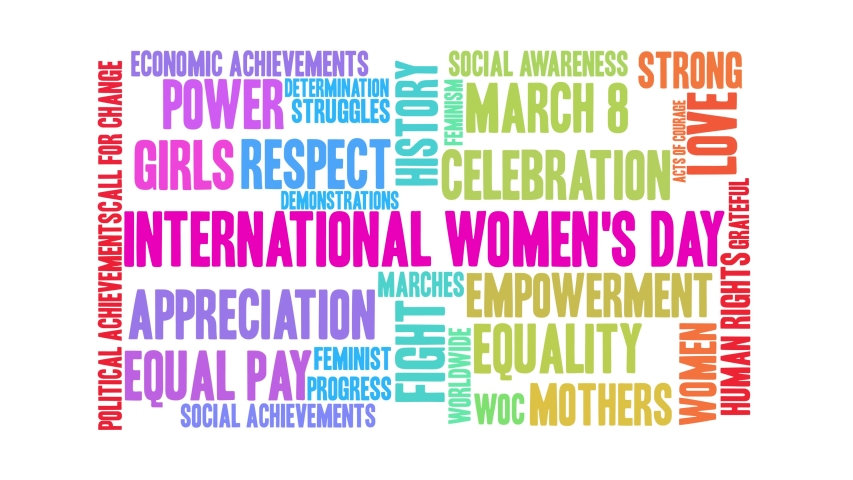 International Women's Day word cloud on a black background. Royalty-Free Stock Footage #1044863716