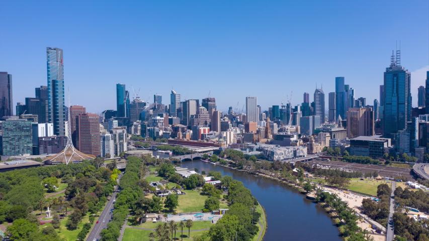 Aerial hyperlapse of CBD at Flinders St in Melbourne, Australia