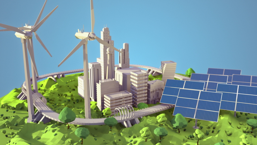 Animation of energy efficient future city with solar panels and wind turbines. Great for presentations on green energy and saving the planet.  | Shutterstock HD Video #1044890548