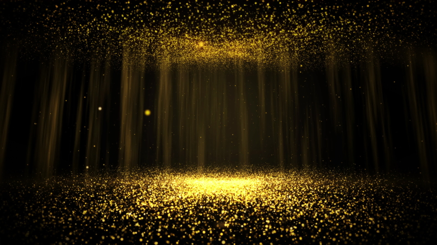 Gold particles abstract background with shining golden floor particles stars dust. Futuristic glittering fly movement flickering loop in space on black background.