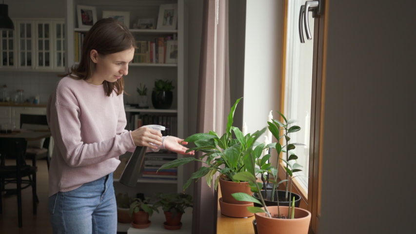 Beautiful young woman is sprinkling water on flowers at home caring for houseplants alone. Cheerful housewife is watering green plants using sprayer holding flower pots. Housework and botany concept  | Shutterstock HD Video #1044896572