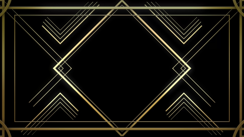 Infinite Looped Gatsby Art deco 20's style animated Frame Tunnel. Gold modern early 20th century ornament builds up and appears on black background. Glamorous template for opener, titles or text Royalty-Free Stock Footage #1044909190