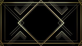 Infinite Looped Gatsby Art deco 20's style animated Frame Tunnel. Gold modern early 20th century ornament builds up and appears on black background. Glamorous template for opener, titles or text