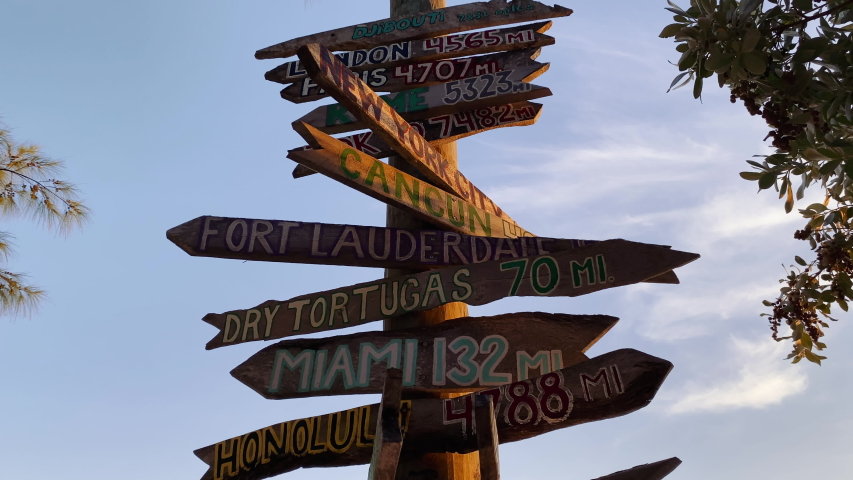 Signpost in Fort Zachary Taylor State Park, Key West, Florida at sunset, Wooden directional beach signs | Shutterstock HD Video #1044924703