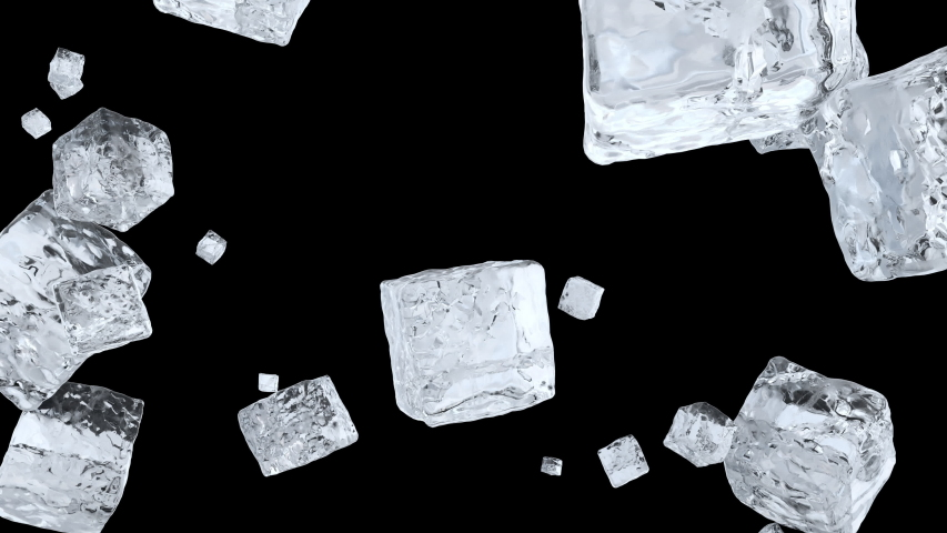 Explosion of realistic 3D render ice cubes with alpha matte. Nice could crystal ice cubes flying around in slow motion. 4k animation footage.  | Shutterstock HD Video #1044934705