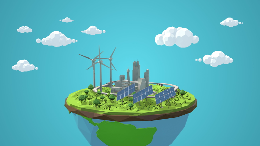 Day to night cycle of a sun and moon cartoon bouncing into the scene. Showing green clean energy on a future city. Great for optimistic future presentations.  | Shutterstock HD Video #1044951622