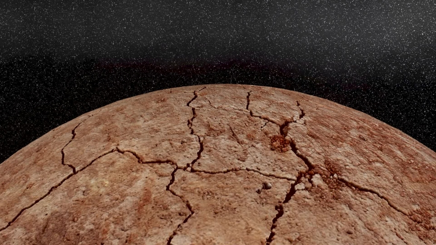 Dry and dead planet 3D CGI Render with camera movement, sun flares and stars in space surface with lots of cracks and erosion | Shutterstock HD Video #1044983605