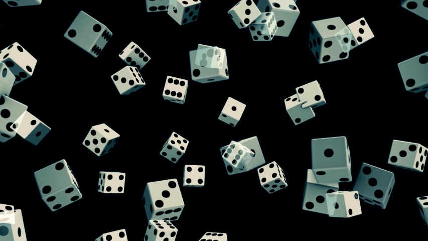 Rotating dice of white color flowing horizontally on black background, seamless loop. Animation. Black and white playing dice, games of chance concept. | Shutterstock HD Video #1044985444