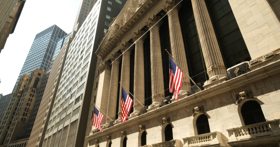 Manhattan, New York - September 18, 2019:  New York Stock Exchange building in the financial district on Wall Street in lower Manhattan New York USA