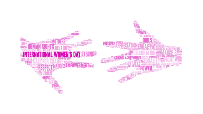 International Women's Day word cloud on a white background. Royalty-Free Stock Footage #1045014898
