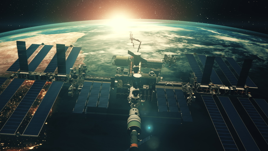 Close up ISS flying over Earth globe atmosphere. International Space Station discovery realistic planet. Sci progress concept. 3d render animation. 4K. Elements of this image furnished by NASA