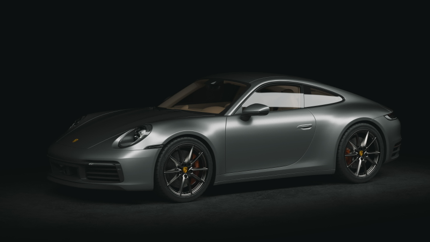 Presentation of sporting luxury car, new automobile. Porsche 911 992 Coupe 2019. Full HD 4k