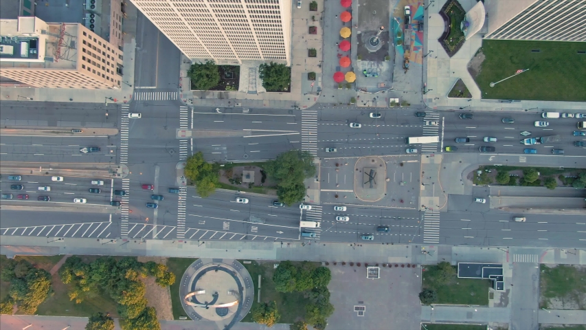 Aerial: Overhead of Downtown Detroit and traffic looking down. Detroit, Michigan, USA. 19 September 2019