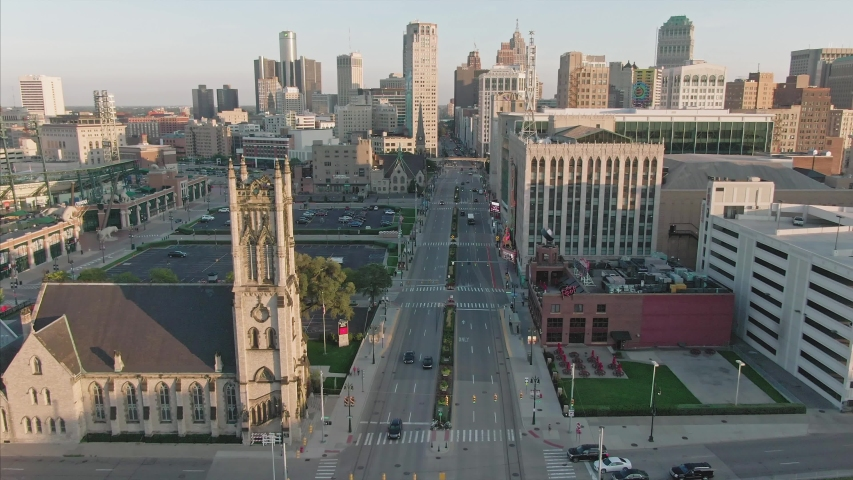 Aerial: Downtown Detroit buildings and traffic. Detroit, Michigan, USA. 19 September 2019