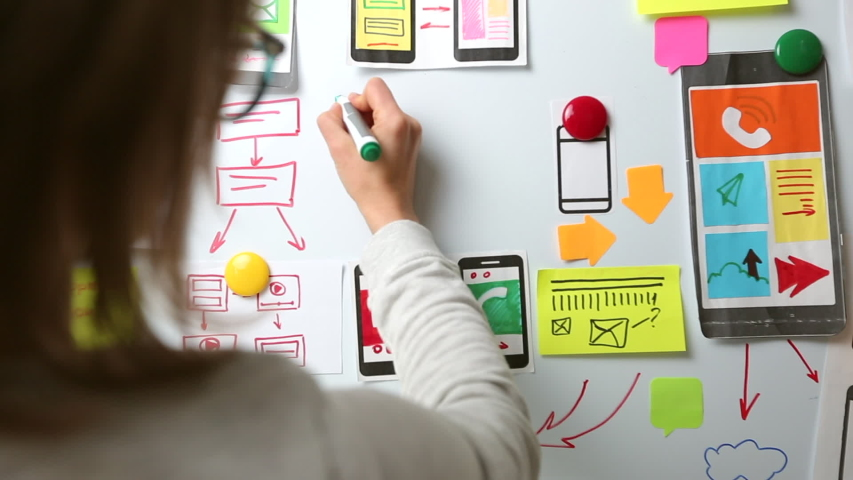 The UX designer is developing an interface for mobile phone applications. Royalty-Free Stock Footage #1045077739