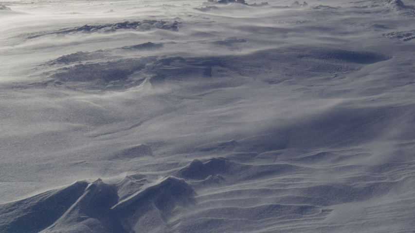 Harsh blizzard and snow storm on Antarctica land.